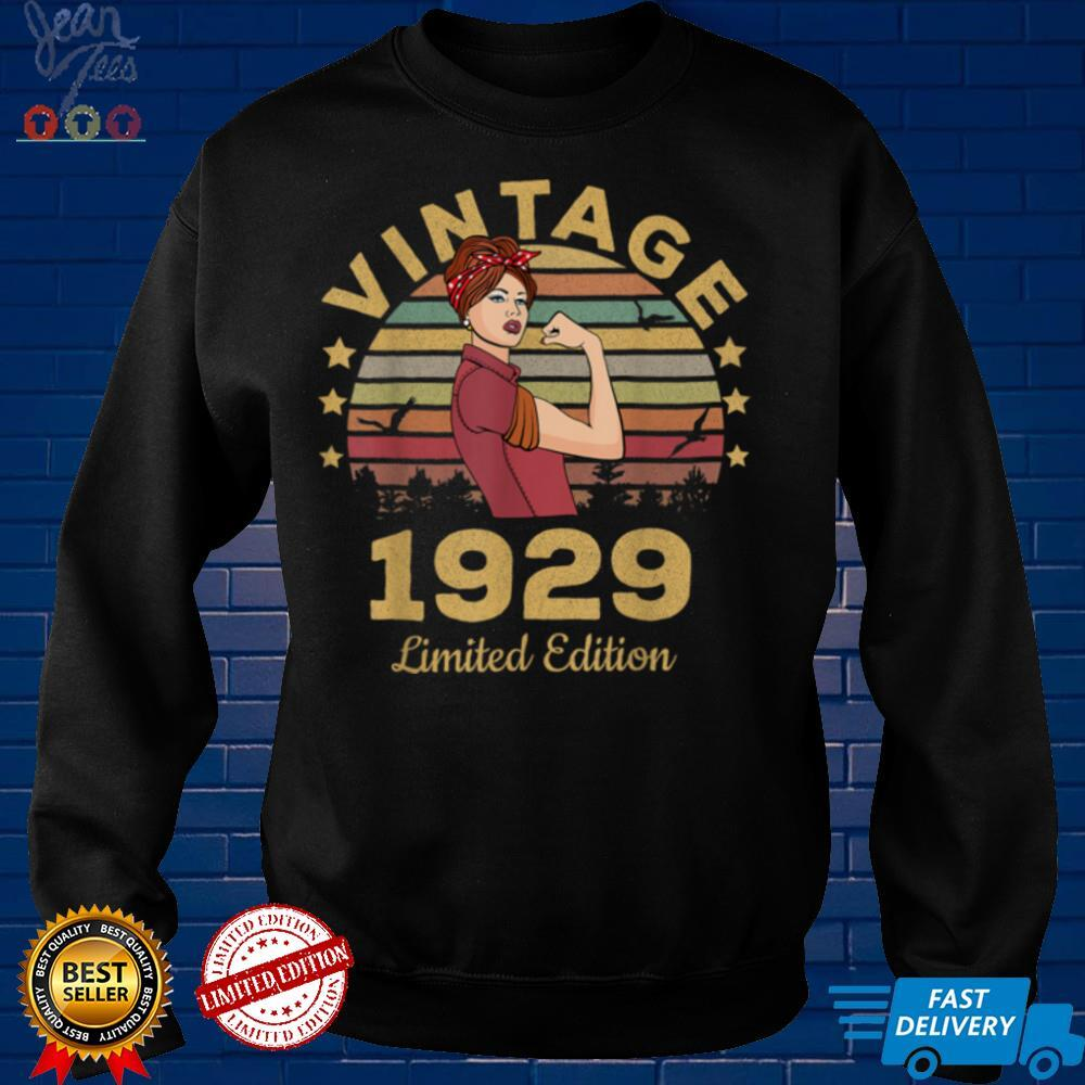 Vintage 1929 Made In 1929 92nd Birthday Women 92 Years T Shirt