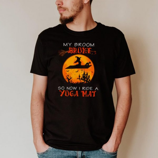 Witch And Cat My Broom Broke So Now I Ride A Yoga Mat Halloween T shirt
